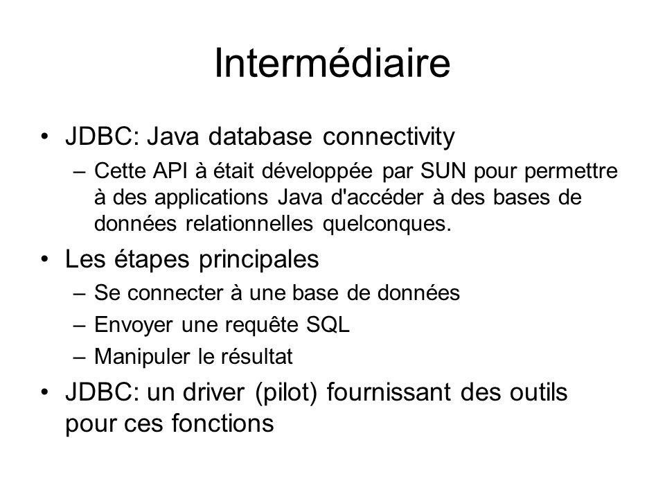Intermédiaire JDBC: Java database connectivity –Cette API à était développée par SUN pour permettre à des applications Java d accéder à des bases de données relationnelles quelconques.