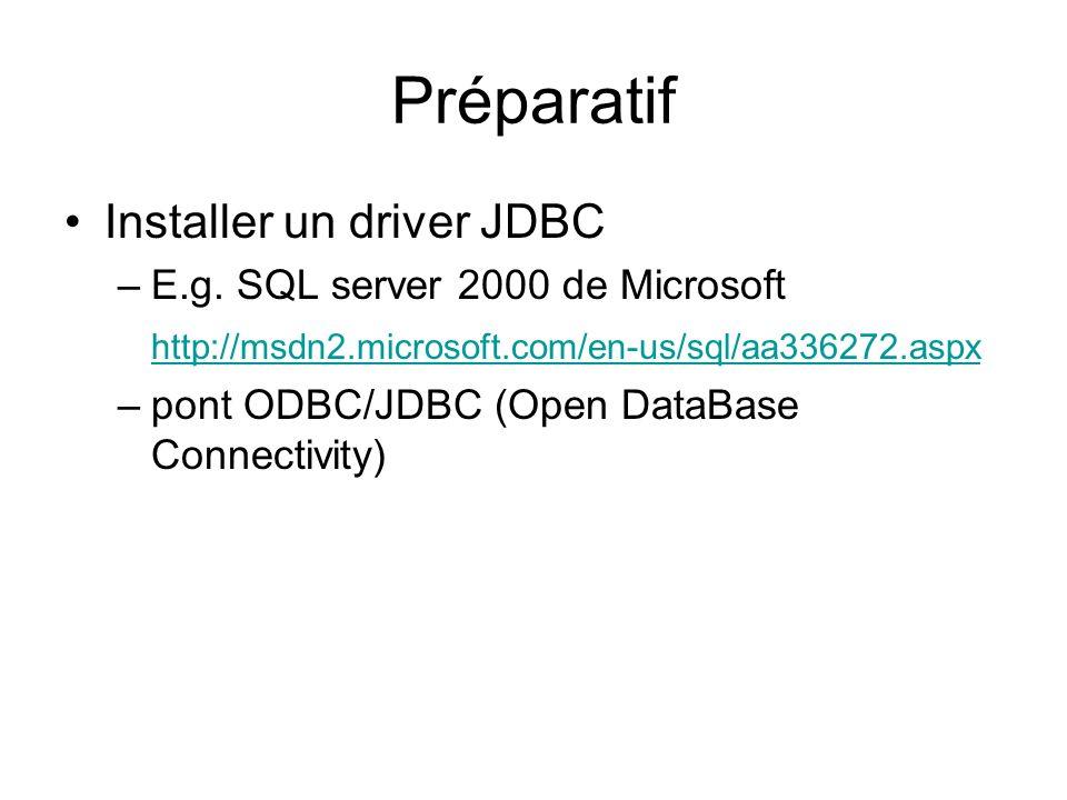 Préparatif Installer un driver JDBC –E.g.