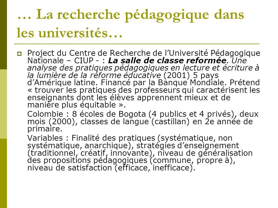 … La recherche pédagogique dans les universités… Project du Centre de Recherche de lUniversité Pédagogique Nationale – CIUP - : La salle de classe reformée.