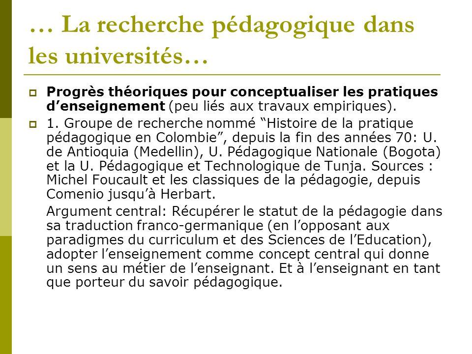 … La recherche pédagogique dans les universités… Progrès théoriques pour conceptualiser les pratiques denseignement (peu liés aux travaux empiriques).