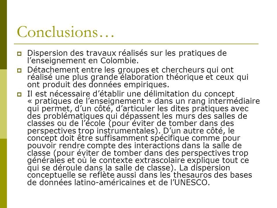 Conclusions… Dispersion des travaux réalisés sur les pratiques de lenseignement en Colombie.