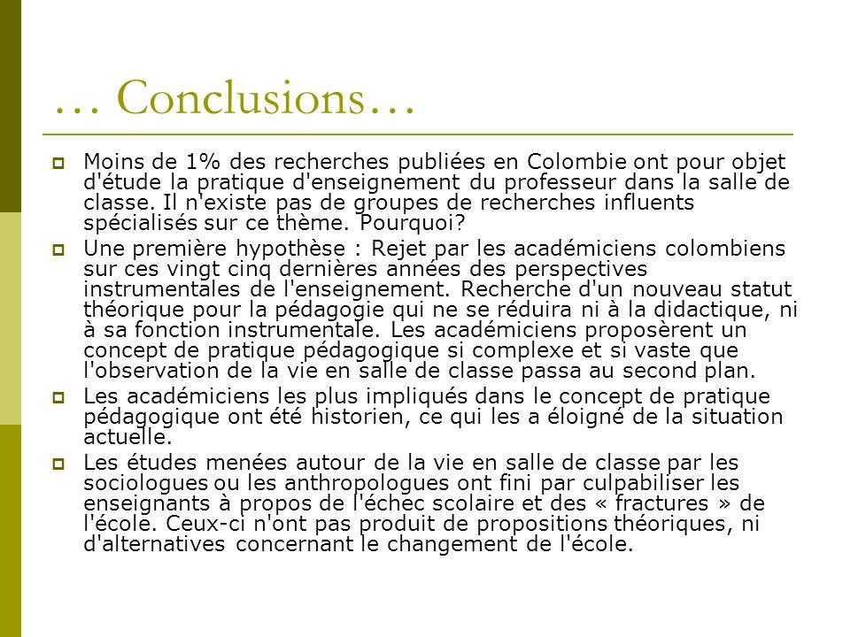 … Conclusions… Moins de 1% des recherches publiées en Colombie ont pour objet d étude la pratique d enseignement du professeur dans la salle de classe.