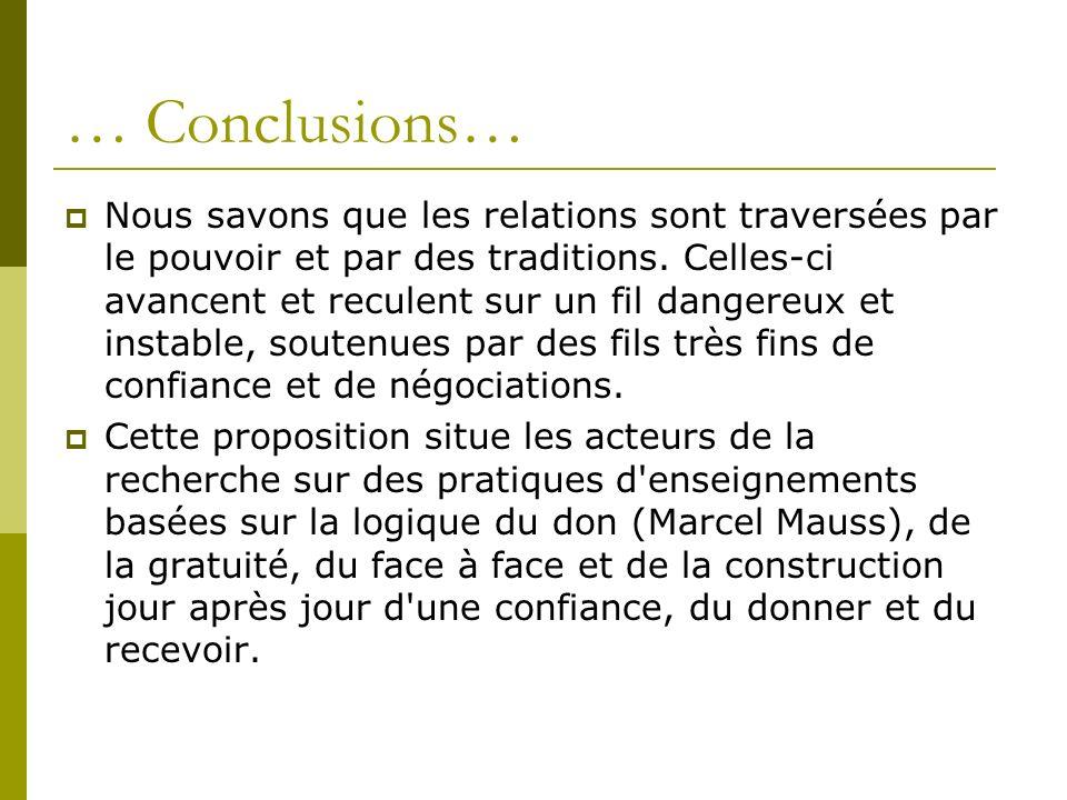 … Conclusions… Nous savons que les relations sont traversées par le pouvoir et par des traditions. Celles-ci avancent et reculent sur un fil dangereux