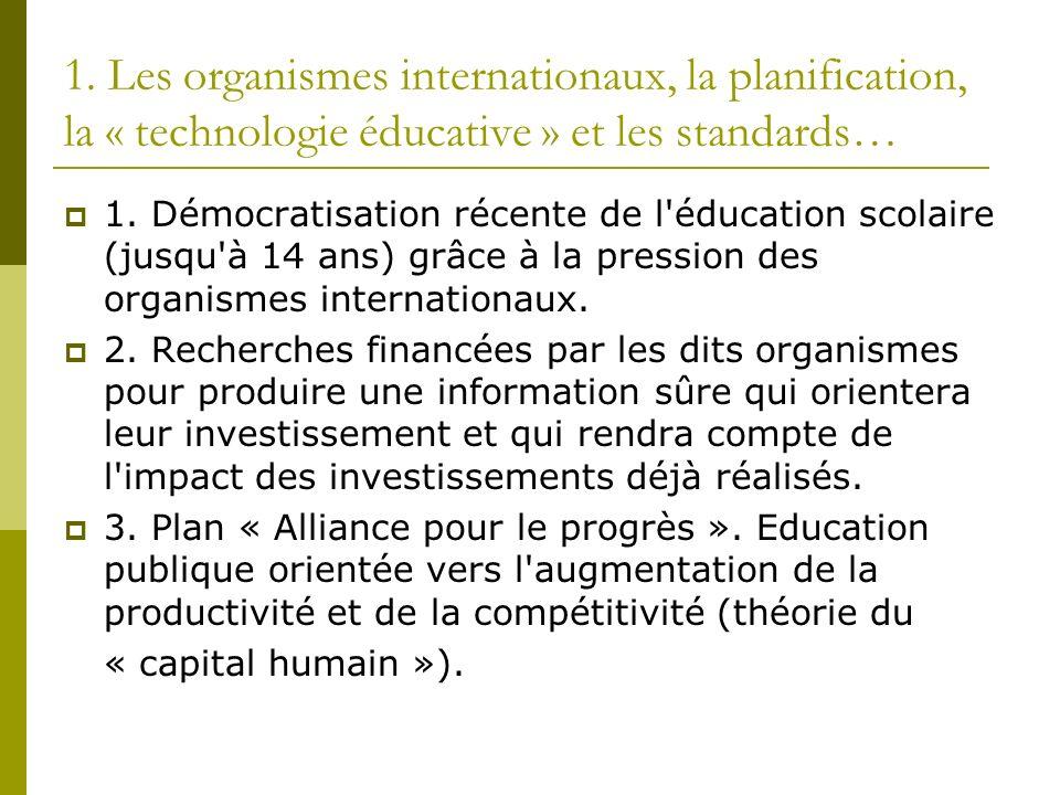 1. Les organismes internationaux, la planification, la « technologie éducative » et les standards… 1. Démocratisation récente de l'éducation scolaire
