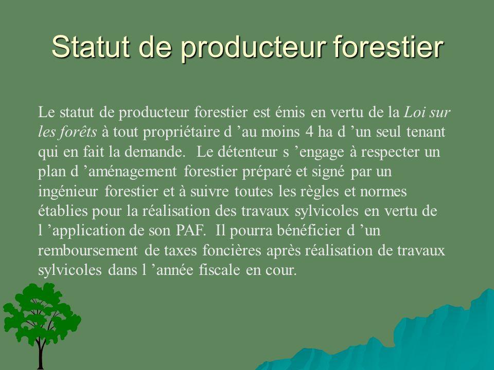 Statut de producteur forestier Le statut de producteur forestier est émis en vertu de la Loi sur les forêts à tout propriétaire d au moins 4 ha d un seul tenant qui en fait la demande.
