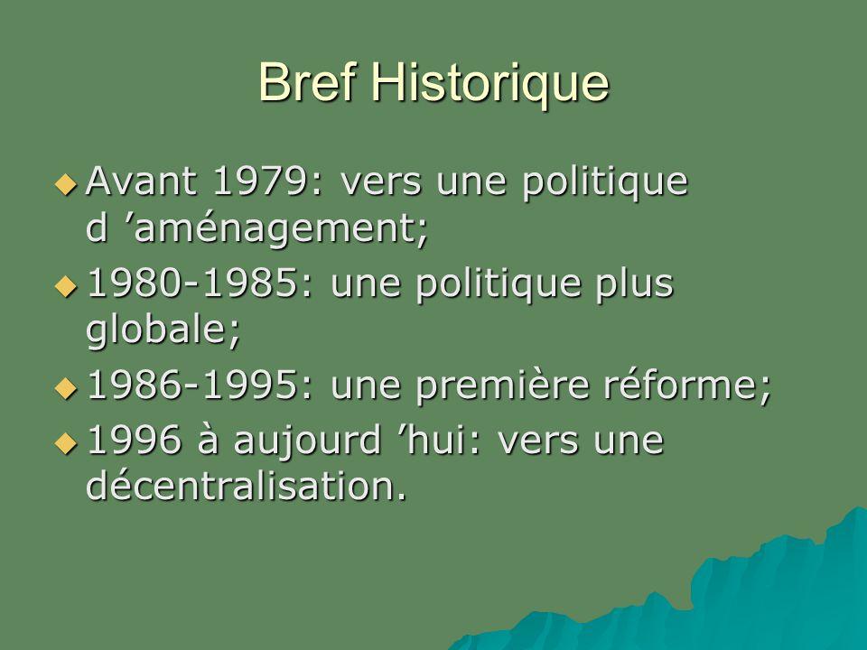 Bref Historique Avant 1979: vers une politique d aménagement; Avant 1979: vers une politique d aménagement; 1980-1985: une politique plus globale; 1980-1985: une politique plus globale; 1986-1995: une première réforme; 1986-1995: une première réforme; 1996 à aujourd hui: vers une décentralisation.