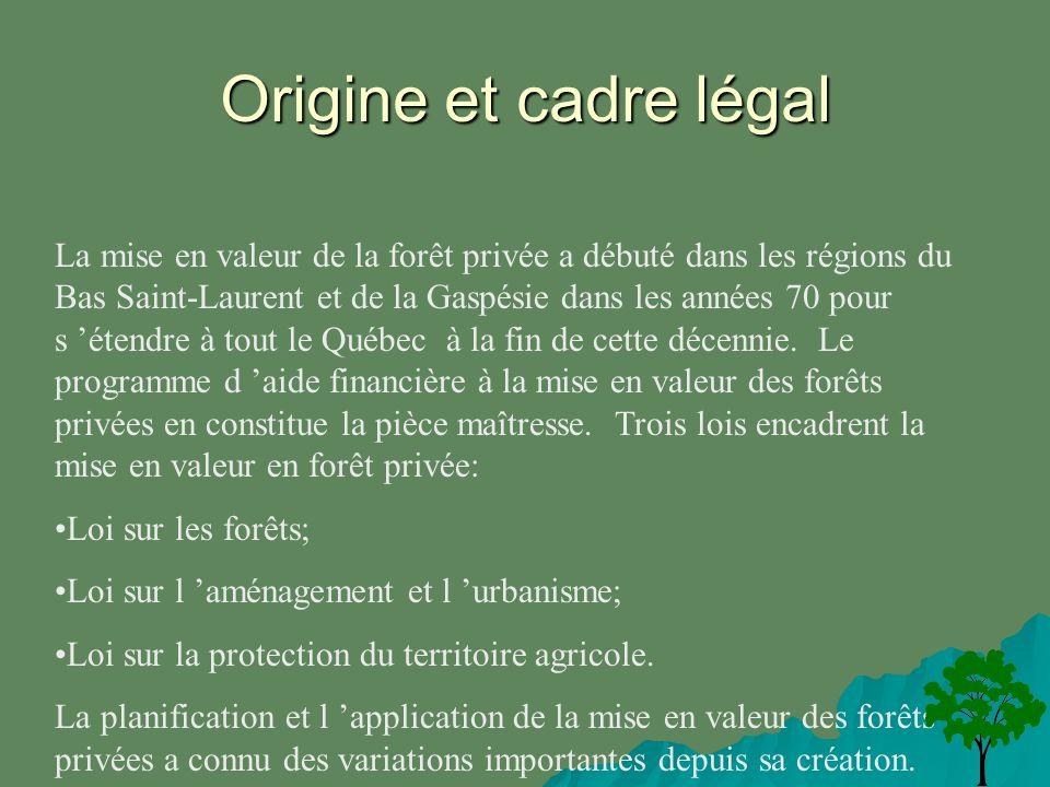 Origine et cadre légal La mise en valeur de la forêt privée a débuté dans les régions du Bas Saint-Laurent et de la Gaspésie dans les années 70 pour s étendre à tout le Québec à la fin de cette décennie.