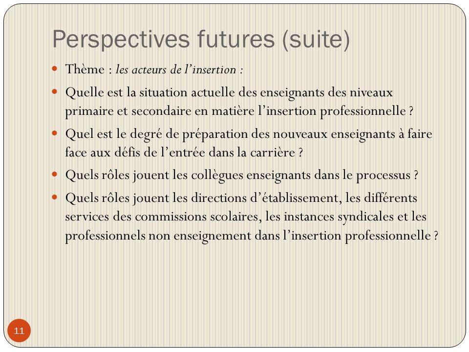 Perspectives futures (suite) 11 Thème : les acteurs de linsertion : Quelle est la situation actuelle des enseignants des niveaux primaire et secondaire en matière linsertion professionnelle .