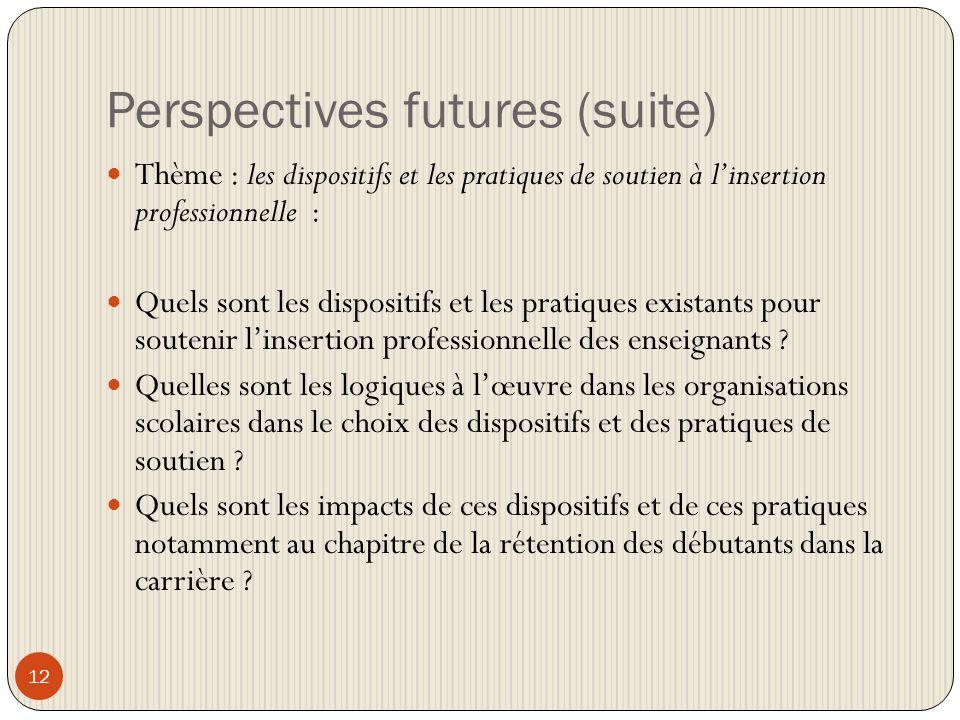Perspectives futures (suite) 12 Thème : les dispositifs et les pratiques de soutien à linsertion professionnelle : Quels sont les dispositifs et les pratiques existants pour soutenir linsertion professionnelle des enseignants .