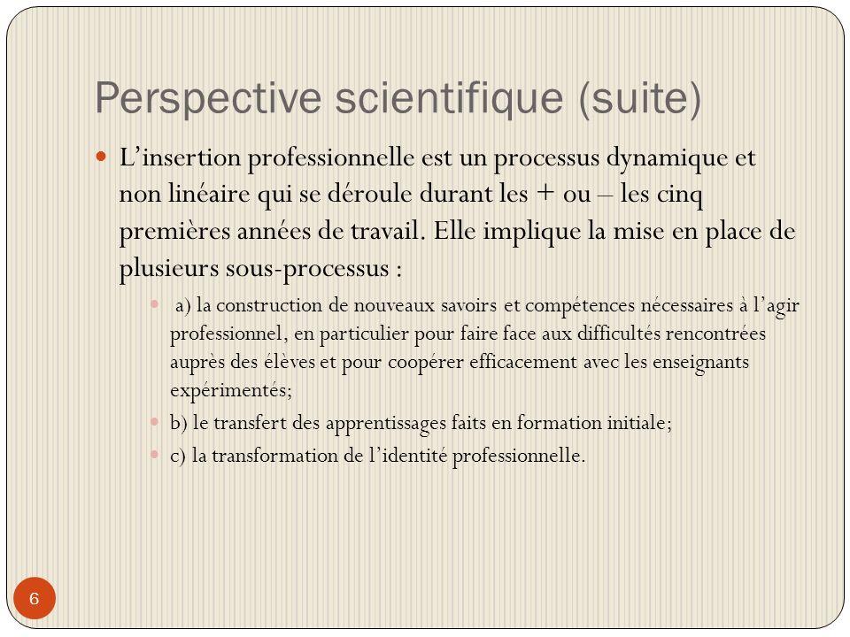 Perspective scientifique (suite) 6 Linsertion professionnelle est un processus dynamique et non linéaire qui se déroule durant les + ou – les cinq premières années de travail.