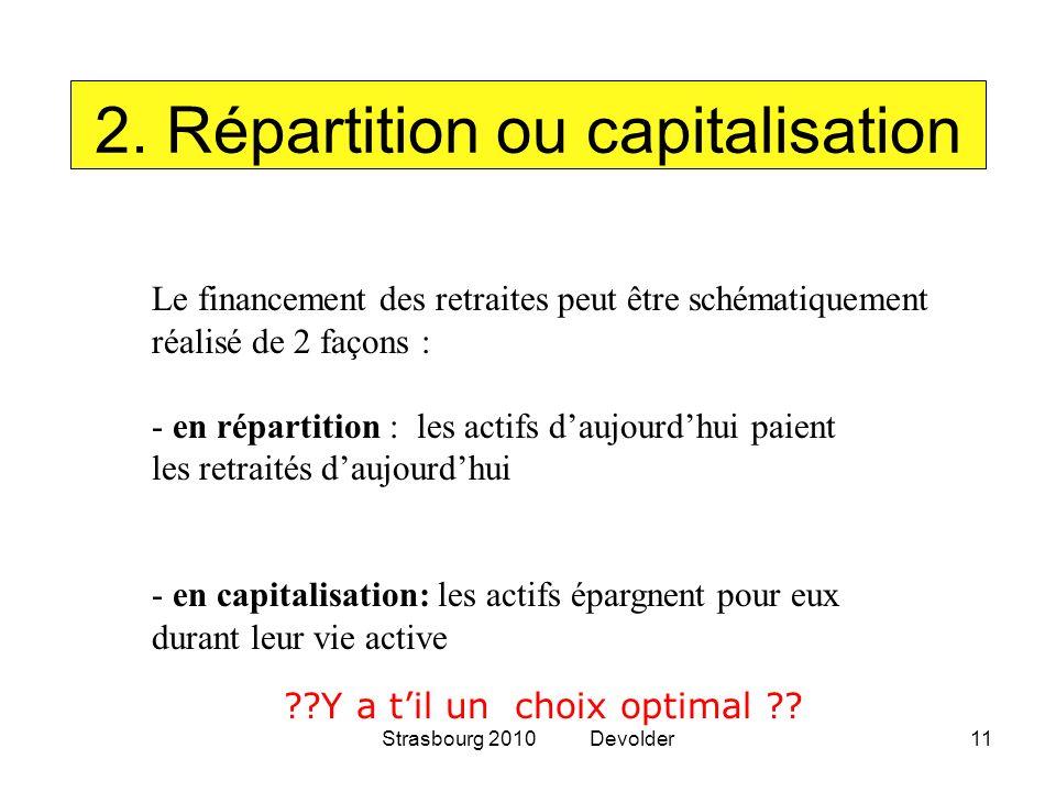Strasbourg 2010 Devolder11 2. Répartition ou capitalisation Le financement des retraites peut être schématiquement réalisé de 2 façons : - en répartit