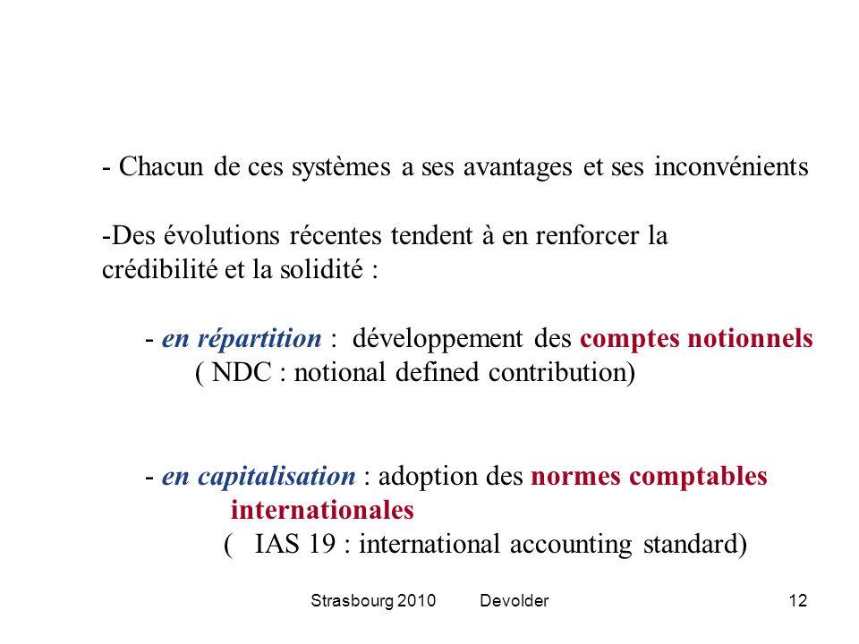 Strasbourg 2010 Devolder12 - Chacun de ces systèmes a ses avantages et ses inconvénients -Des évolutions récentes tendent à en renforcer la crédibilit