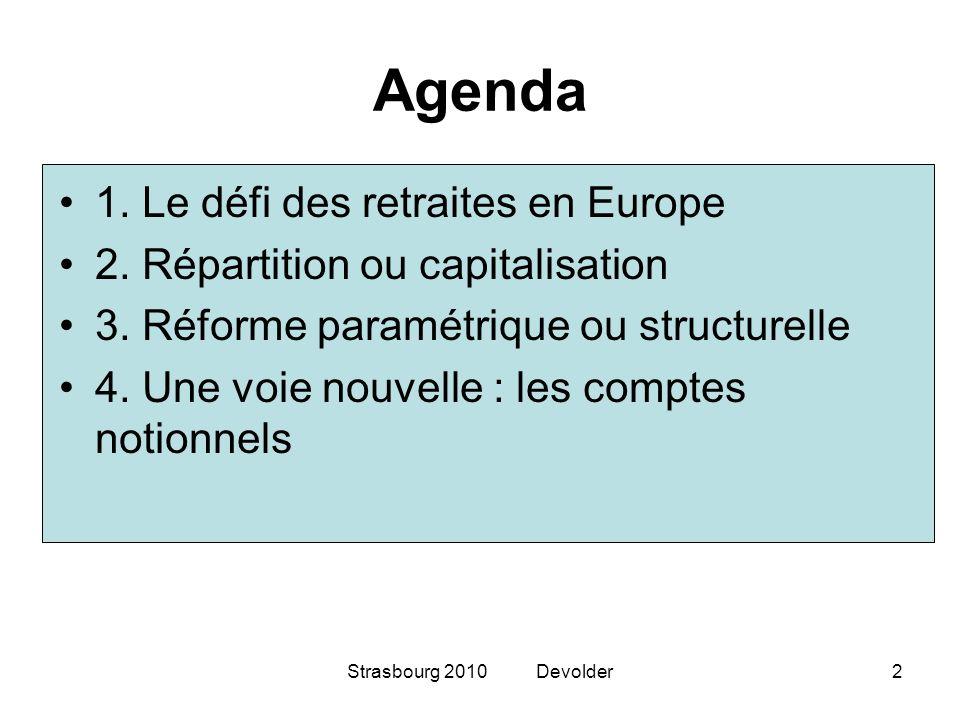 Strasbourg 2010 Devolder2 Agenda 1. Le défi des retraites en Europe 2. Répartition ou capitalisation 3. Réforme paramétrique ou structurelle 4. Une vo
