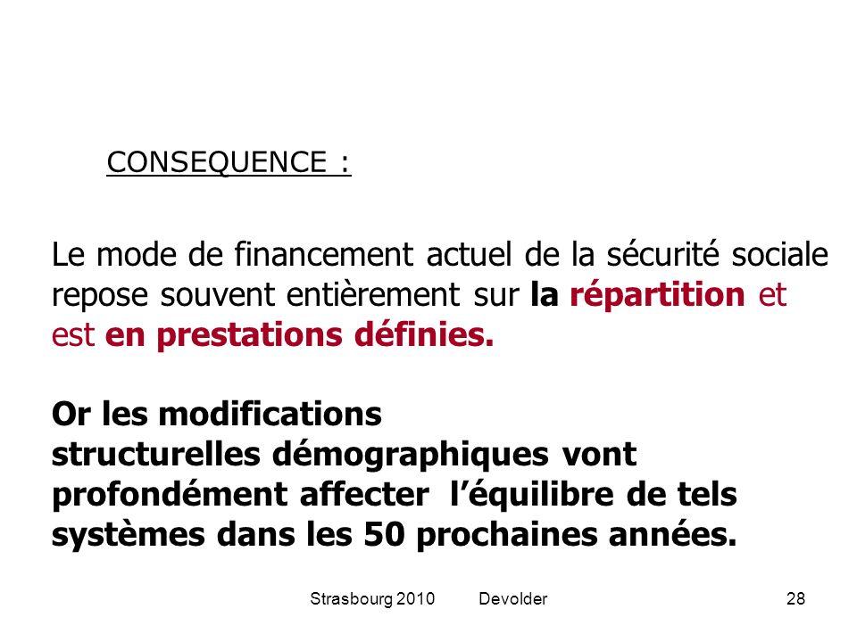 Strasbourg 2010 Devolder28 Le mode de financement actuel de la sécurité sociale repose souvent entièrement sur la répartition et est en prestations dé