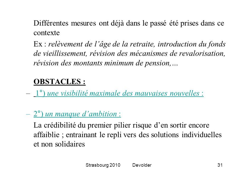 Strasbourg 2010 Devolder31 Différentes mesures ont déjà dans le passé été prises dans ce contexte Ex : relèvement de lâge de la retraite, introduction
