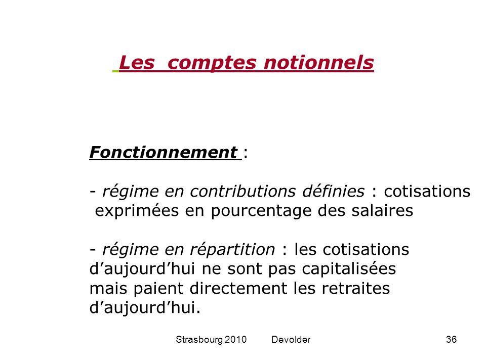 Strasbourg 2010 Devolder36 Fonctionnement : - régime en contributions définies : cotisations exprimées en pourcentage des salaires - régime en réparti