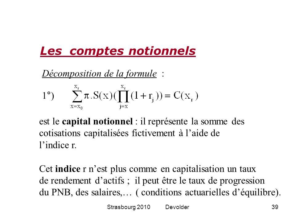 Strasbourg 2010 Devolder39 Les comptes notionnels Décomposition de la formule : est le capital notionnel : il représente la somme des cotisations capi