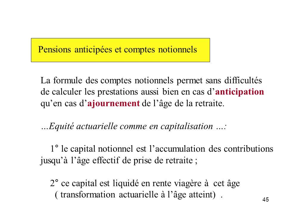 45 Pensions anticipées et comptes notionnels La formule des comptes notionnels permet sans difficultés de calculer les prestations aussi bien en cas d