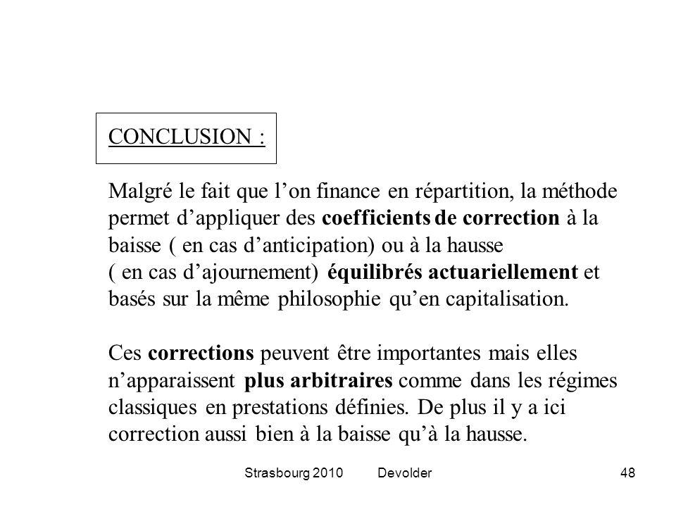 Strasbourg 2010 Devolder48 CONCLUSION : Malgré le fait que lon finance en répartition, la méthode permet dappliquer des coefficients de correction à l
