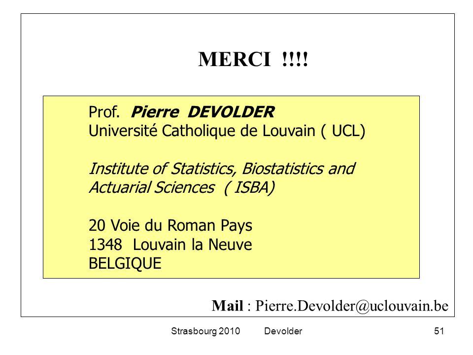Strasbourg 2010 Devolder51 Prof. Pierre DEVOLDER Université Catholique de Louvain ( UCL) Institute of Statistics, Biostatistics and Actuarial Sciences