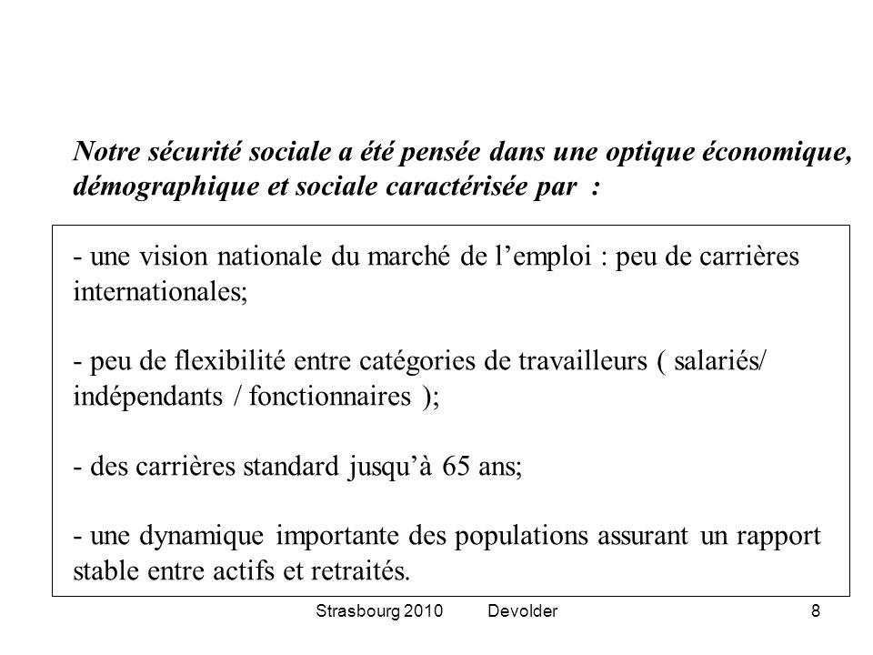 Strasbourg 2010 Devolder8 Notre sécurité sociale a été pensée dans une optique économique, démographique et sociale caractérisée par : - une vision na