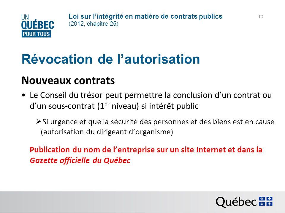 Loi sur lintégrité en matière de contrats publics (2012, chapitre 25) 10 Révocation de lautorisation Nouveaux contrats Le Conseil du trésor peut perme