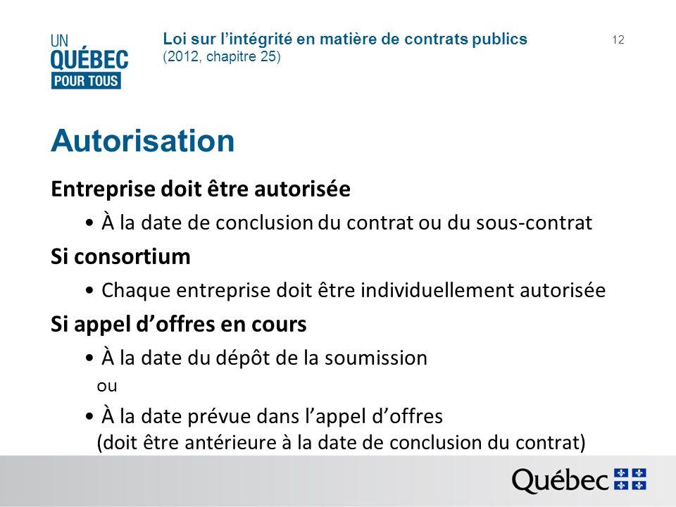 Loi sur lintégrité en matière de contrats publics (2012, chapitre 25) 12 Autorisation Entreprise doit être autorisée À la date de conclusion du contra