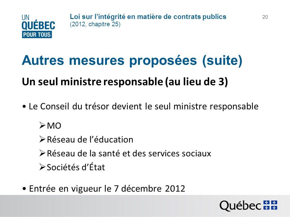 Loi sur lintégrité en matière de contrats publics (2012, chapitre 25) 20 Autres mesures proposées (suite) Un seul ministre responsable (au lieu de 3)