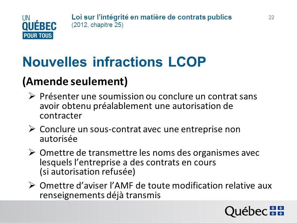 Loi sur lintégrité en matière de contrats publics (2012, chapitre 25) 22 Nouvelles infractions LCOP (Amende seulement) Présenter une soumission ou con