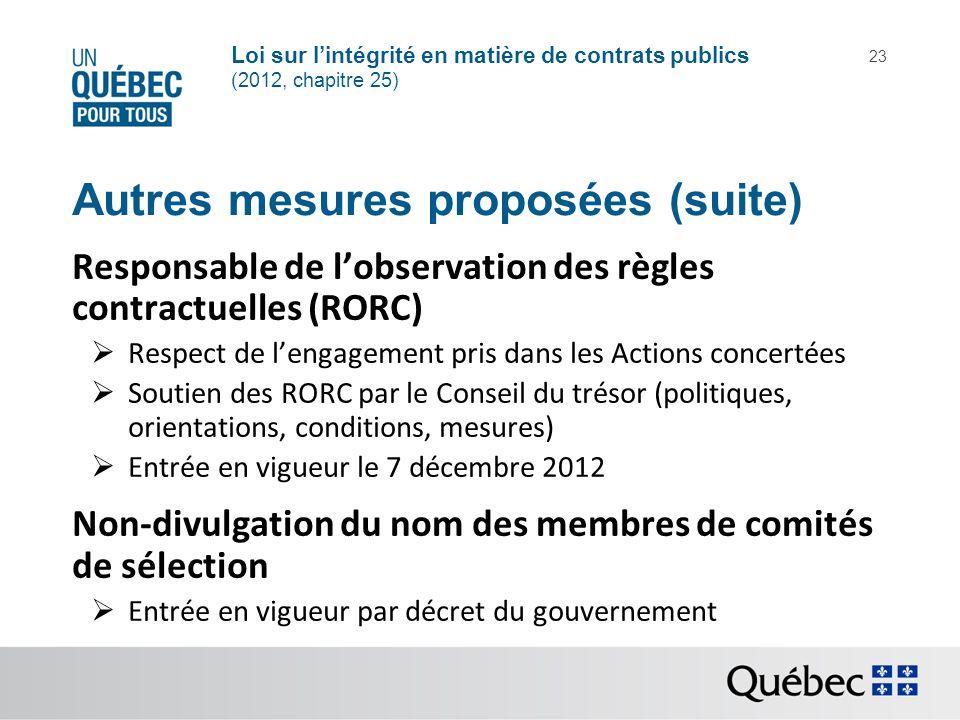 Loi sur lintégrité en matière de contrats publics (2012, chapitre 25) 23 Autres mesures proposées (suite) Responsable de lobservation des règles contr