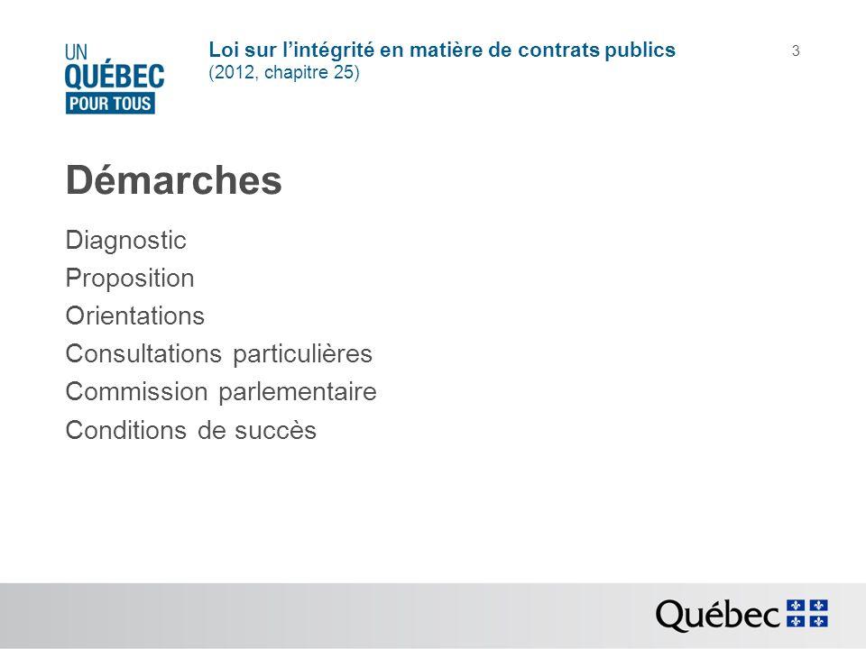 Loi sur lintégrité en matière de contrats publics (2012, chapitre 25) 3 Démarches Diagnostic Proposition Orientations Consultations particulières Comm
