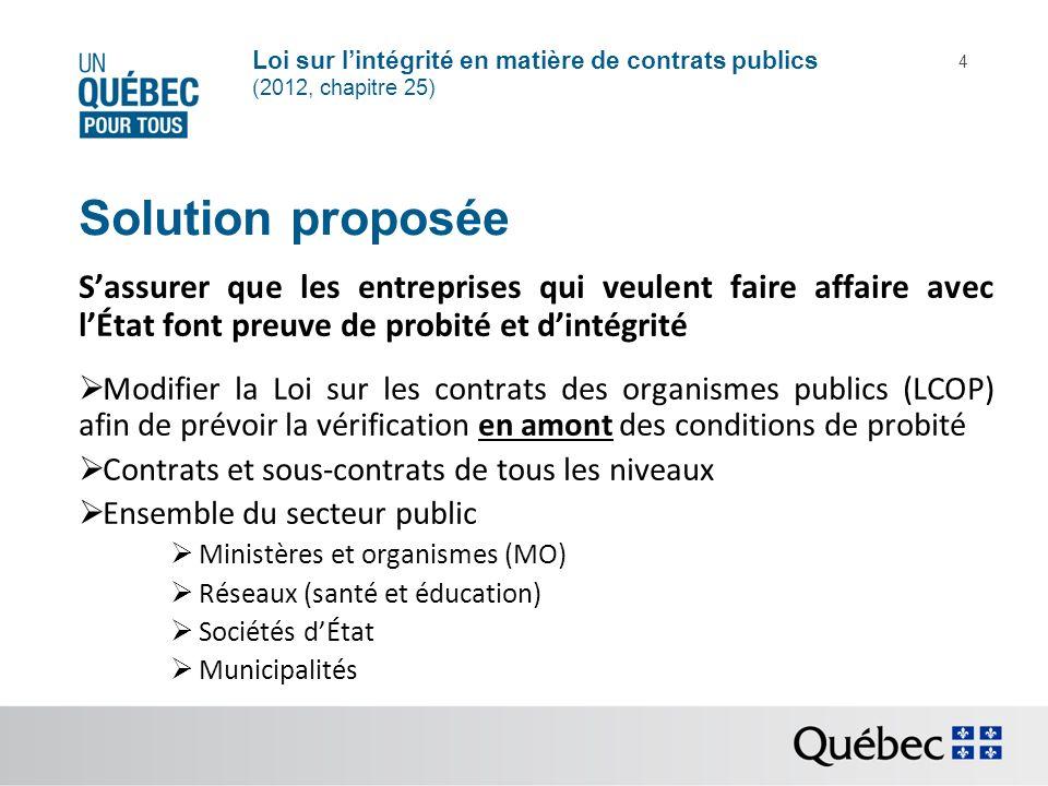 Loi sur lintégrité en matière de contrats publics (2012, chapitre 25) 4 Solution proposée Sassurer que les entreprises qui veulent faire affaire avec