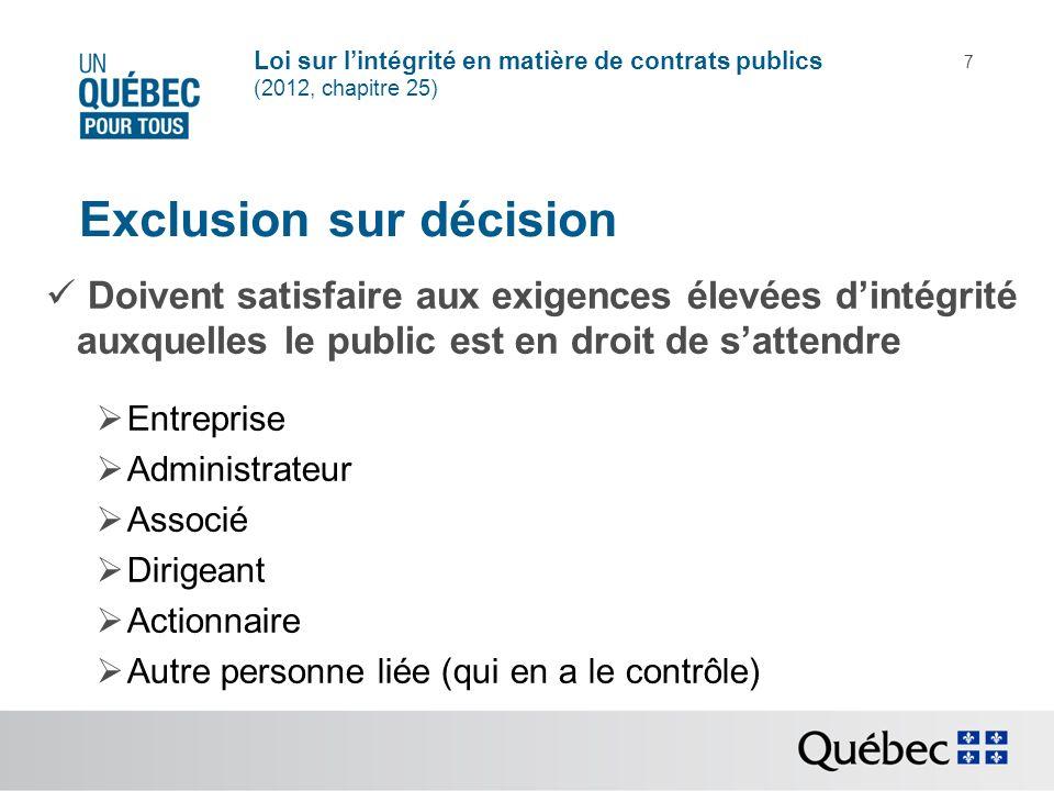 Loi sur lintégrité en matière de contrats publics (2012, chapitre 25) 7 Exclusion sur décision Doivent satisfaire aux exigences élevées dintégrité aux