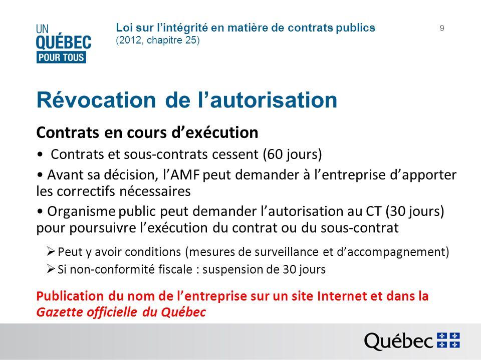 Loi sur lintégrité en matière de contrats publics (2012, chapitre 25) 9 Révocation de lautorisation Contrats en cours dexécution Contrats et sous-cont
