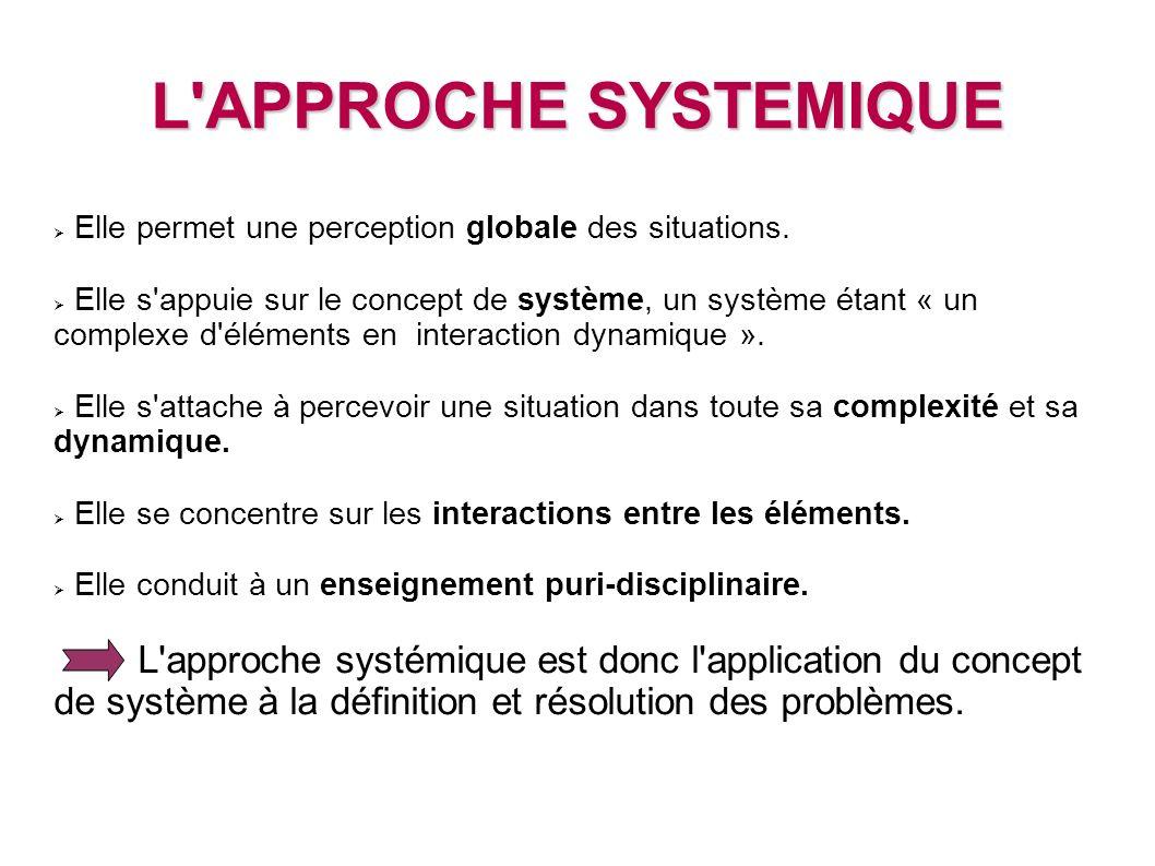 L'APPROCHE SYSTEMIQUE Elle permet une perception globale des situations. Elle s'appuie sur le concept de système, un système étant « un complexe d'élé