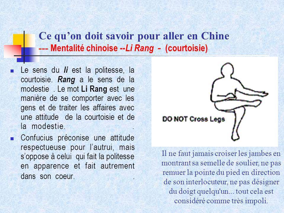 Ce quon doit savoir pour aller en Chine --- Mentalité chinoise -- Li Rang (courtoisie) Le sens du li est la politesse, la courtoisie. Rang a le sens d
