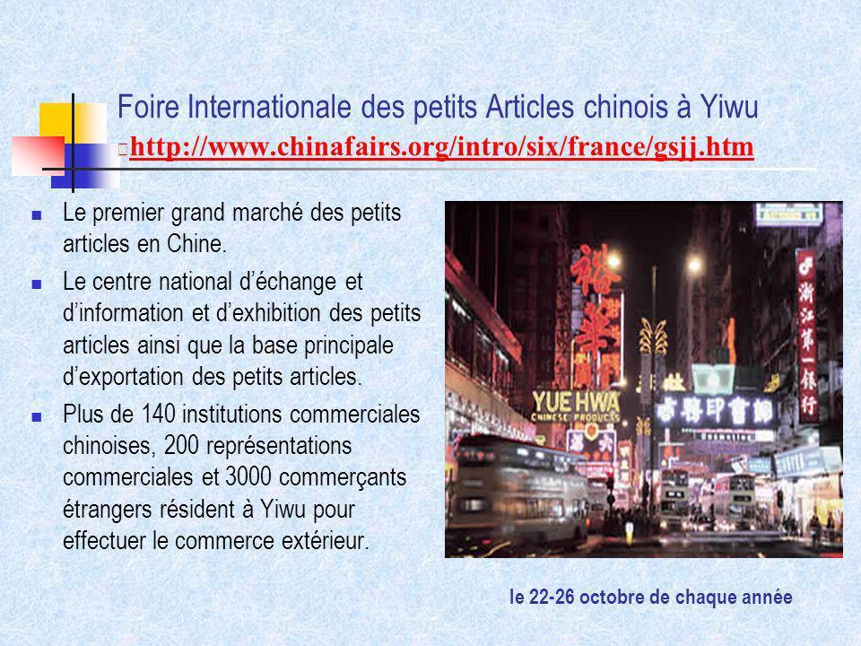 Foire Internationale des petits Articles chinois à Yiwu http://www.chinafairs.org/intro/six/france/gsjj.htm Le premier grand marché des petits article