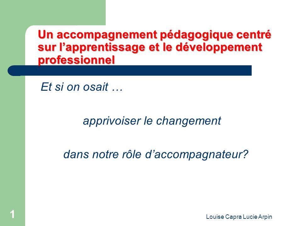 Louise Capra Lucie Arpin 1 Un accompagnement pédagogique centré sur lapprentissage et le développement professionnel Et si on osait … apprivoiser le changement dans notre rôle daccompagnateur?