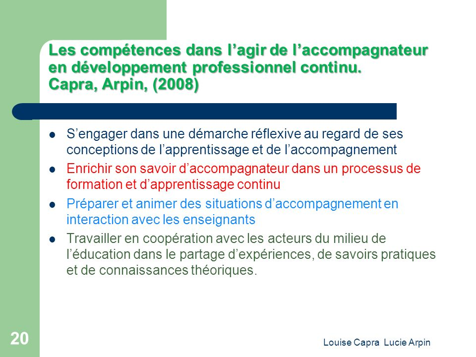Les compétences dans lagir de laccompagnateur en développement professionnel continu.