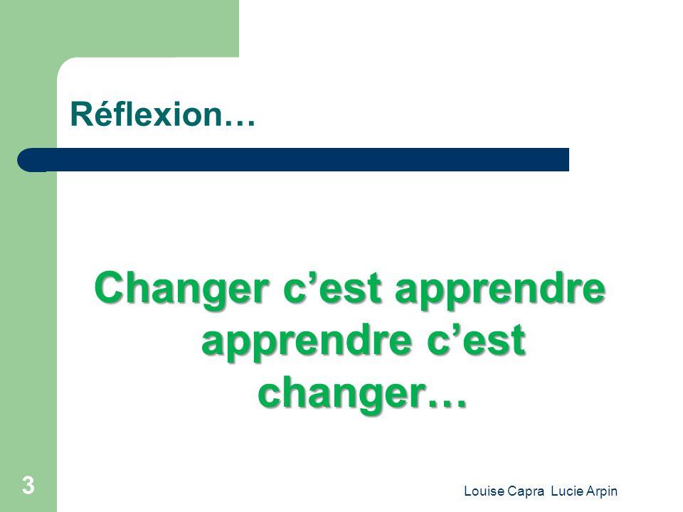 Louise Capra Lucie Arpin 3 Réflexion… Changer cest apprendre apprendre cest changer…