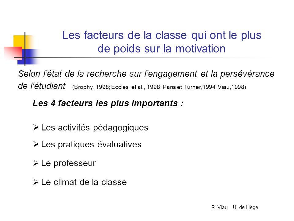 Les facteurs de la classe qui ont le plus de poids sur la motivation Selon létat de la recherche sur lengagement et la persévérance de létudiant (Brop