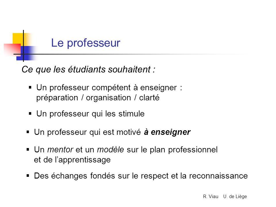 Le professeur Un professeur compétent à enseigner : préparation / organisation / clarté Ce que les étudiants souhaitent : Un professeur qui les stimul
