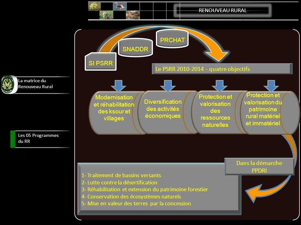 La matrice du Renouveau Rural Les 05 Programmes du RR RENOUVEAU RURAL SNADDR PRCHAT Le PSRR 2010-2014 - quatre objectifs Modernisation et réhabilitati