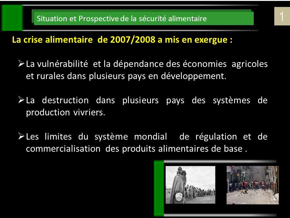 Situation et Prospective de la sécurité alimentaire La crise alimentaire de 2007/2008 a mis en exergue : La vulnérabilité et la dépendance des économi
