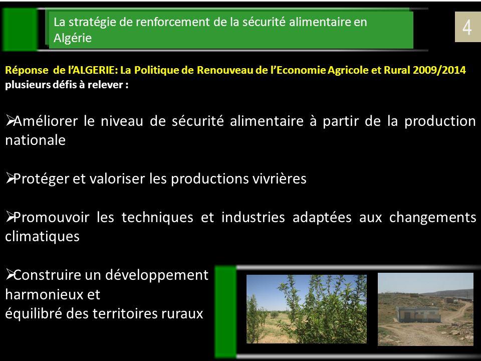 La stratégie de renforcement de la sécurité alimentaire en Algérie Réponse de lALGERIE: La Politique de Renouveau de lEconomie Agricole et Rural 2009/