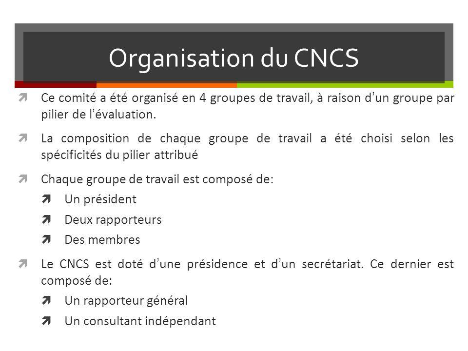 Organisation du CNCS Ce comité a été organisé en 4 groupes de travail, à raison dun groupe par pilier de lévaluation.