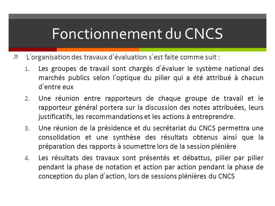 Fonctionnement du CNCS Lorganisation des travaux dévaluation sest faite comme suit : 1.