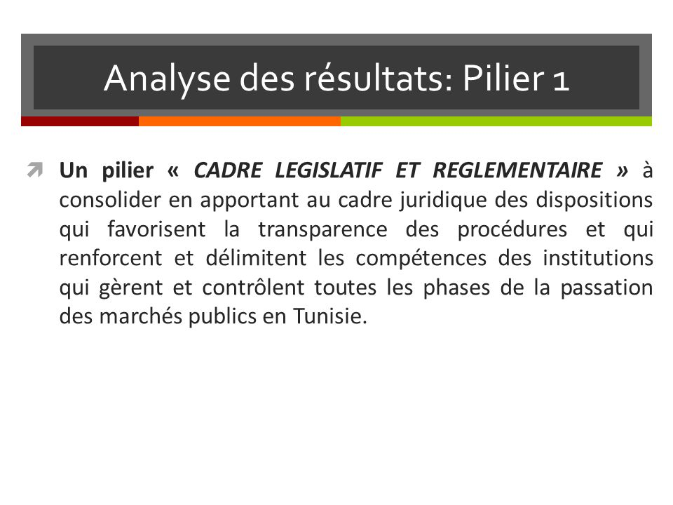 Analyse des résultats: Pilier 1 Un pilier « CADRE LEGISLATIF ET REGLEMENTAIRE » à consolider en apportant au cadre juridique des dispositions qui favorisent la transparence des procédures et qui renforcent et délimitent les compétences des institutions qui gèrent et contrôlent toutes les phases de la passation des marchés publics en Tunisie.