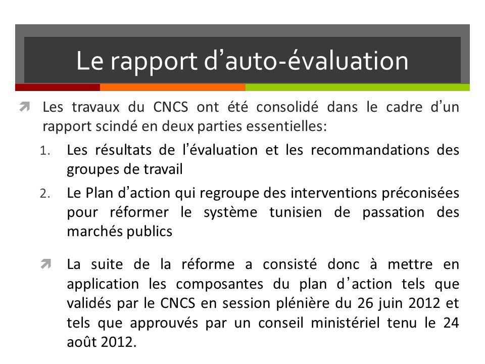 Le rapport dauto-évaluation Les travaux du CNCS ont été consolidé dans le cadre dun rapport scindé en deux parties essentielles: 1.
