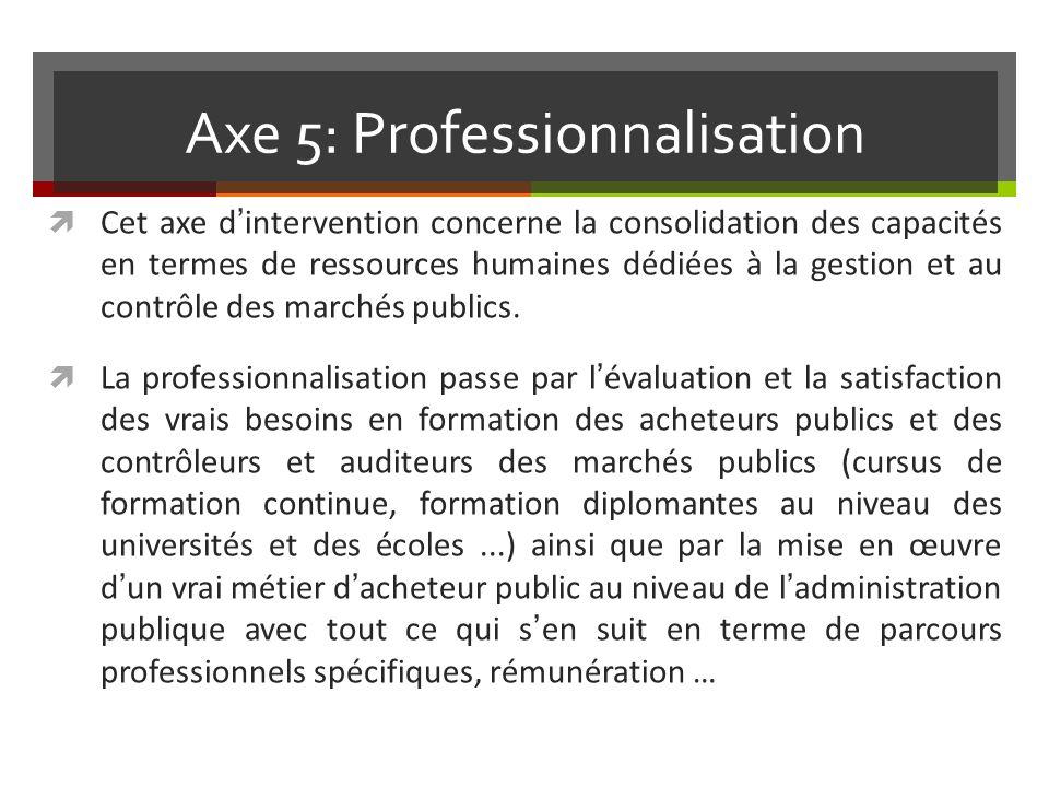 Axe 5: Professionnalisation Cet axe dintervention concerne la consolidation des capacités en termes de ressources humaines dédiées à la gestion et au contrôle des marchés publics.